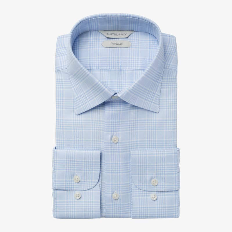 Light_Blue_Check_Traveller_Shirt_Single_Cuff_H5795U