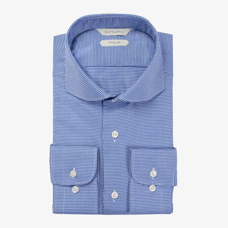 Blue_Pied_De_Poule_Traveller_Shirt_Single_Cuff_H5993U