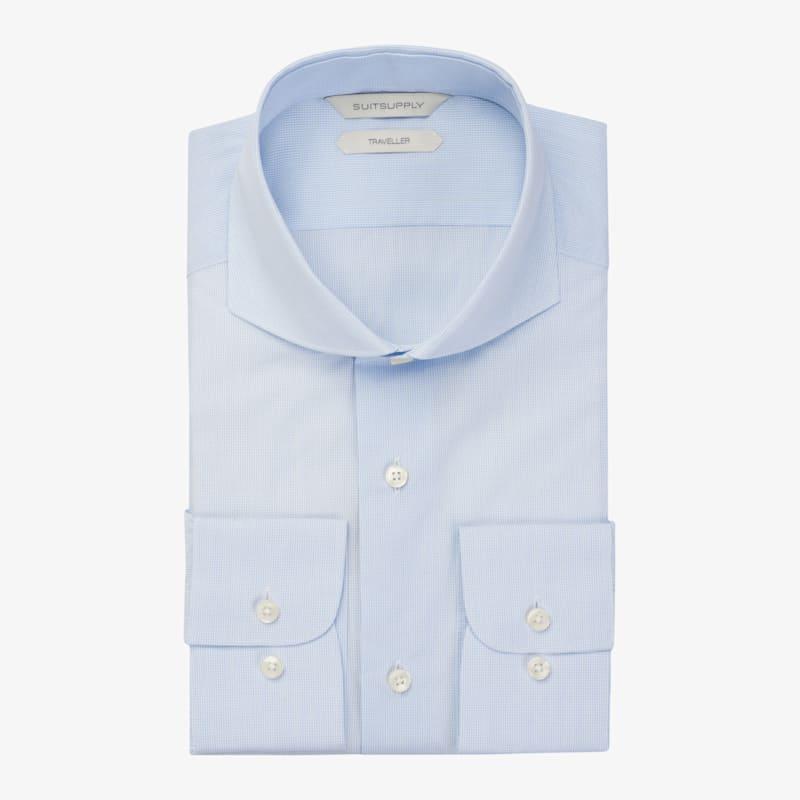 Light_Blue_Check_Traveller_Shirt_Single_Cuff_H5994U