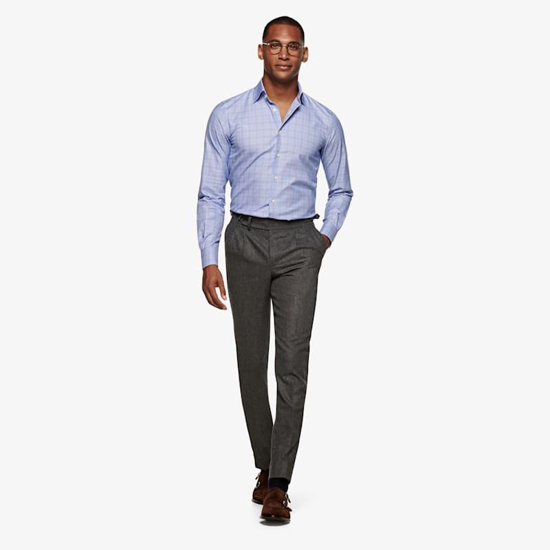 Mid_Blue_Check_Shirt_Single_Cuff_H6047U