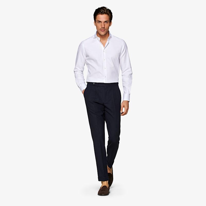 White_Faux_Uni_Shirt_Single_Cuff_H6140