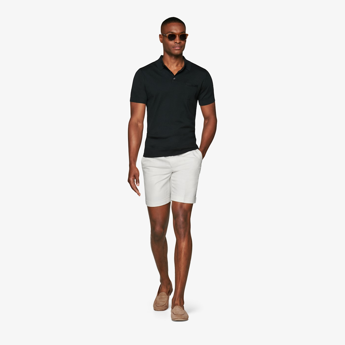 White Pleated Bennington Shorts