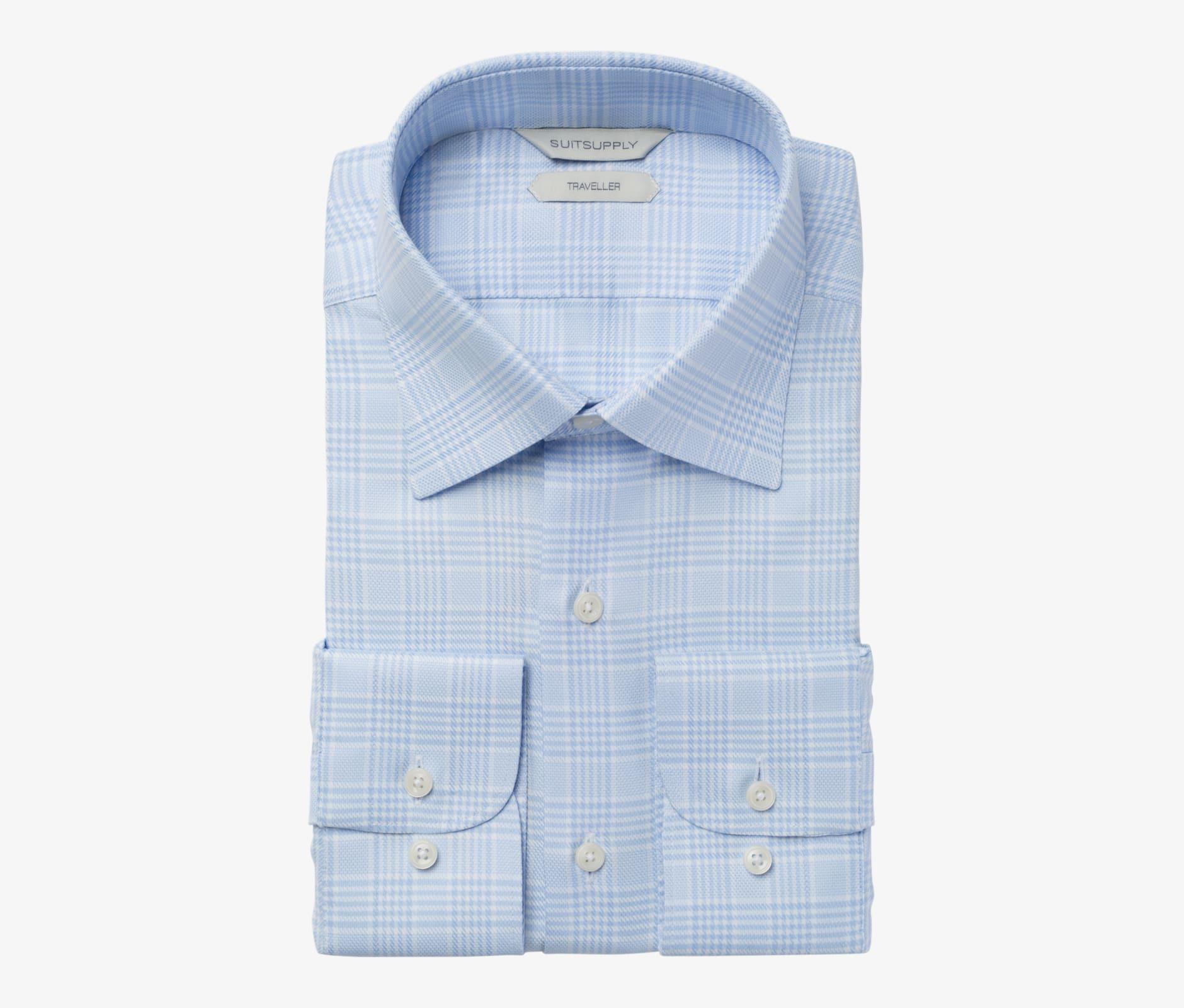 Light_Blue_Check_Traveller_Shirt_Single_Cuff_H5795U