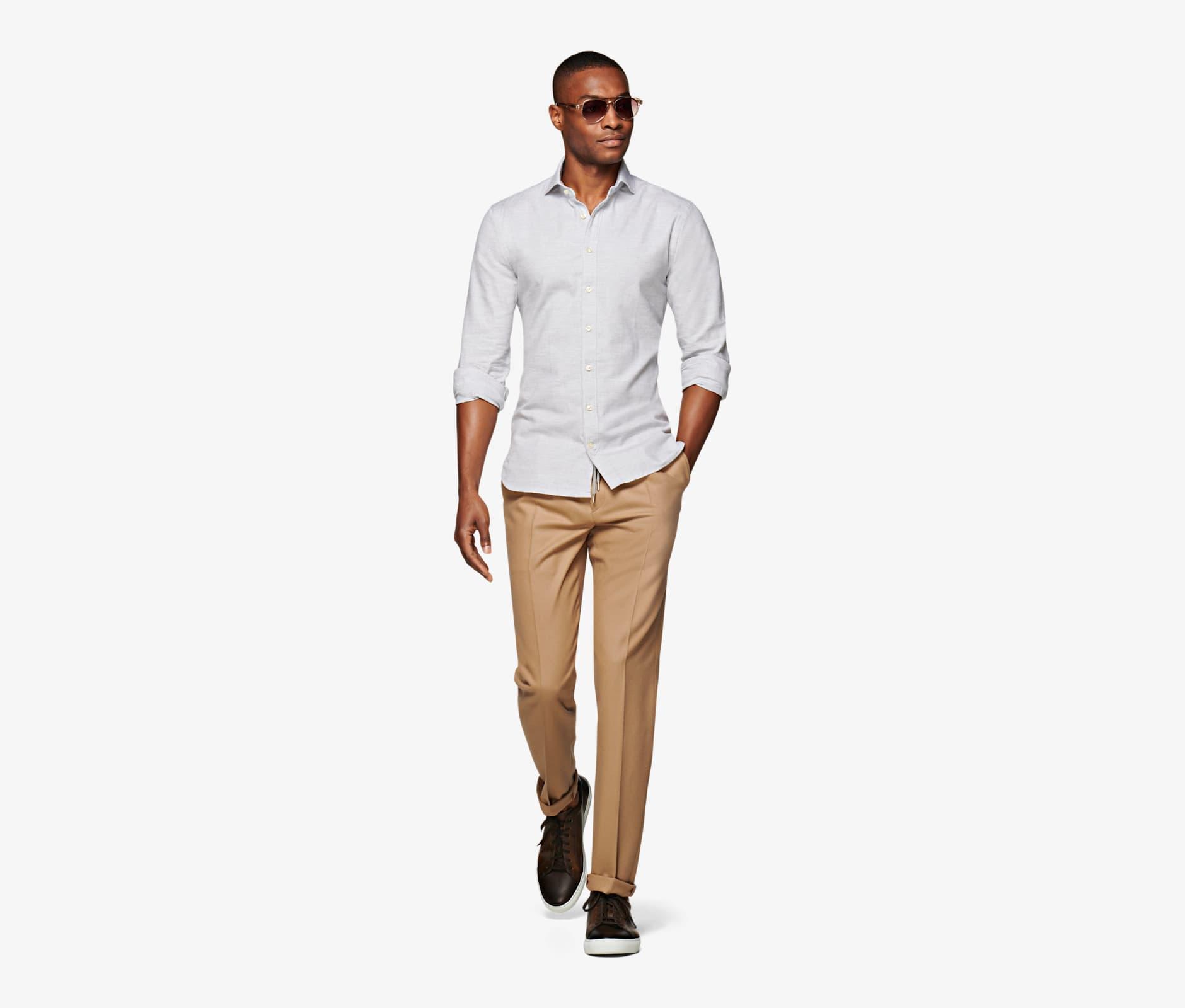 Light_Grey_Flannel_Shirt_Single_Cuff_H5800U