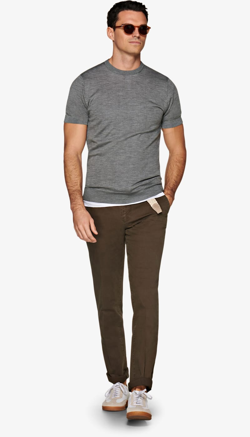 Grey Knitted T Shirt by Suitsupply