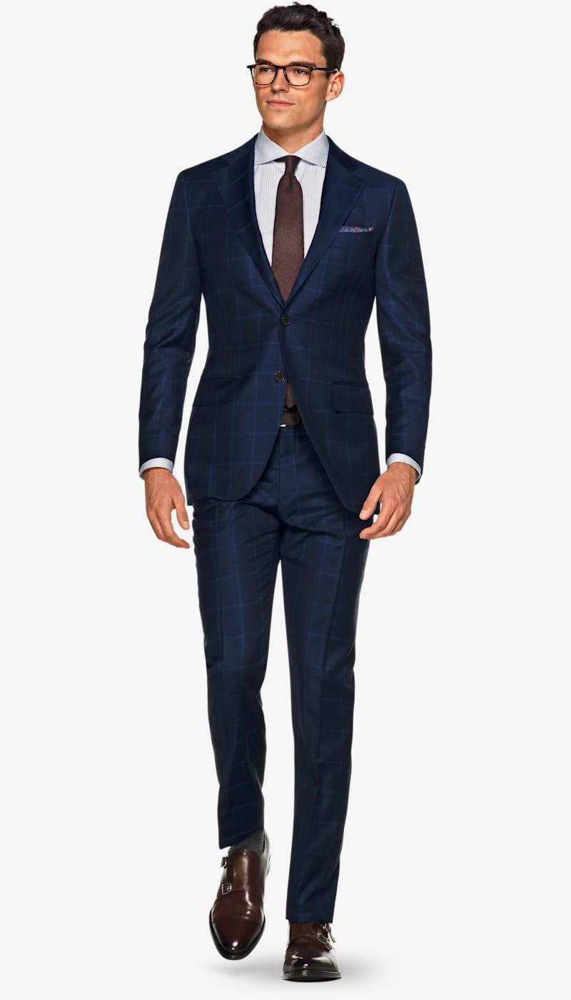 Suit_Navy_Check_Lazio_P5292I