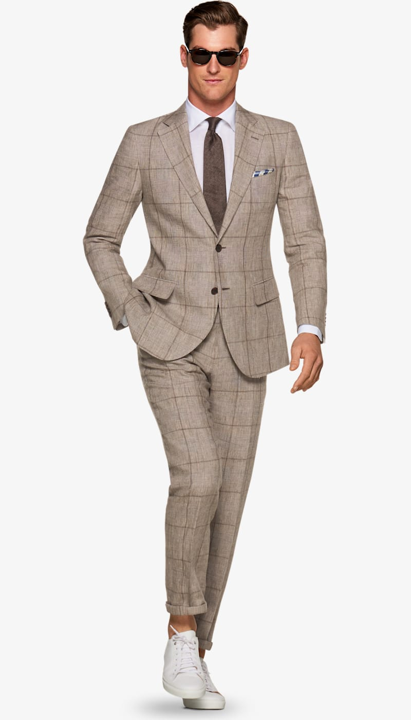 Suit_Light_Brown_Check_Lazio_P5442I