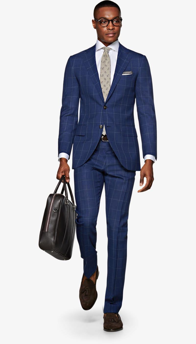 e880e182fb0e Suit_Mid_Blue_Check_Lazio_P5707. 1 / 4. Images. Lazio Mid Blue Check Suit  ...