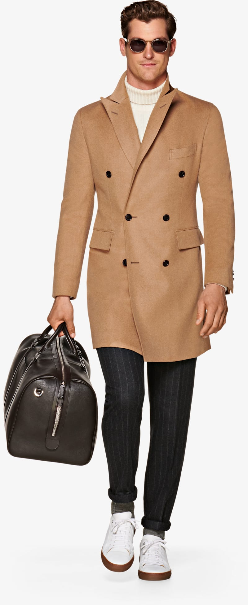 Camel Double Breasted Coat J455bi