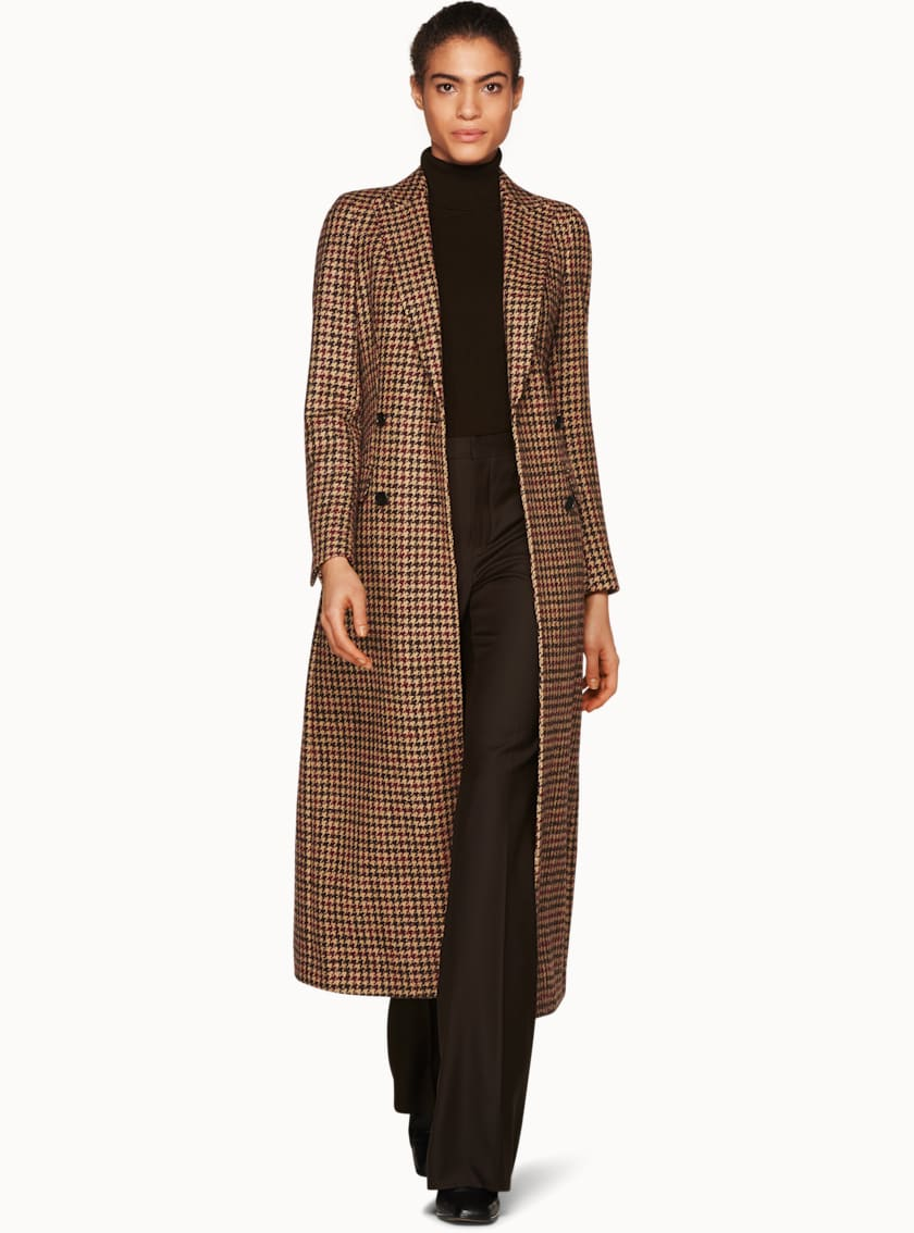 Anna Brown & Burgundy Houndstooth Coat