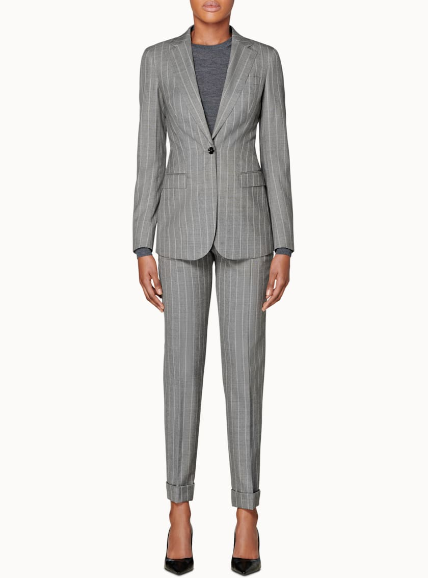 Cameron Light Grey Striped Suit