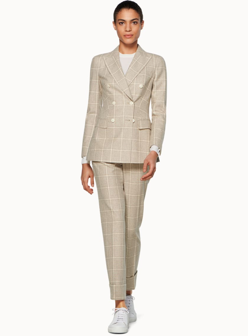Cameron Light Brown Checked Suit