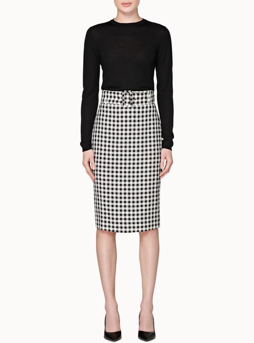 Darell Black & White Checked Skirt