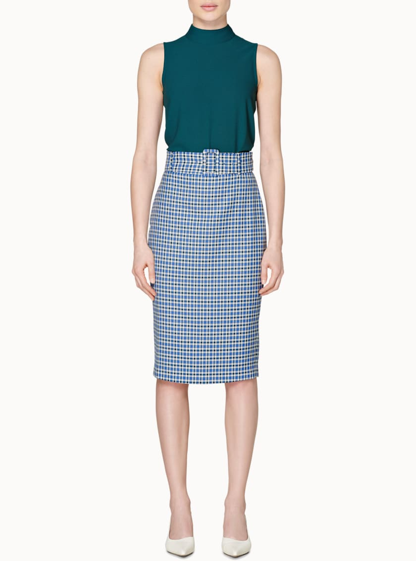 Darell Blue Checked Skirt