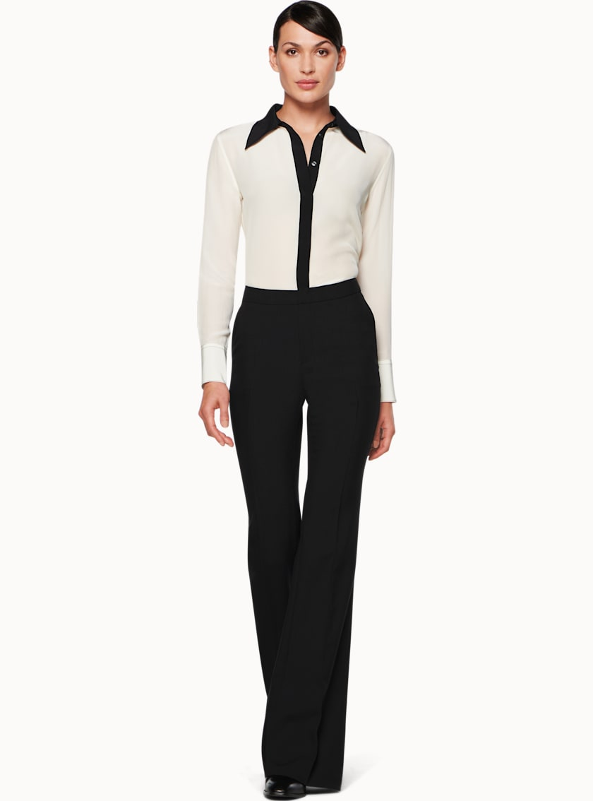 Danielle Off White & Black  Silk Shirt