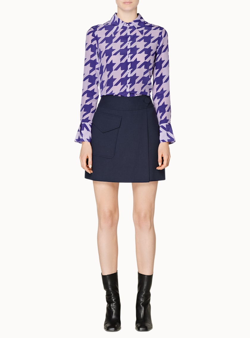 Alec Lilac & Purple Houndstooth Silk Blouse