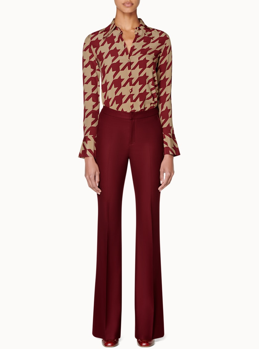 Alec Camel & Burgundy Houndstooth Silk Blouse