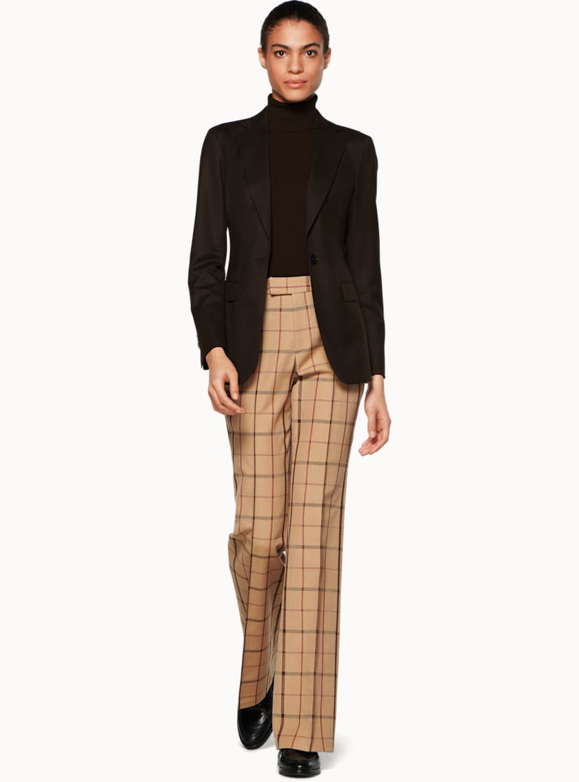 Ally Camel Windowpane Trousers