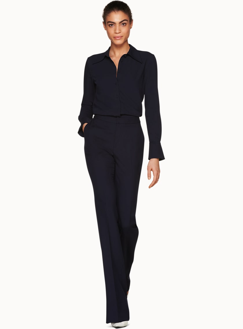 Robin Navy  Flared Trousers
