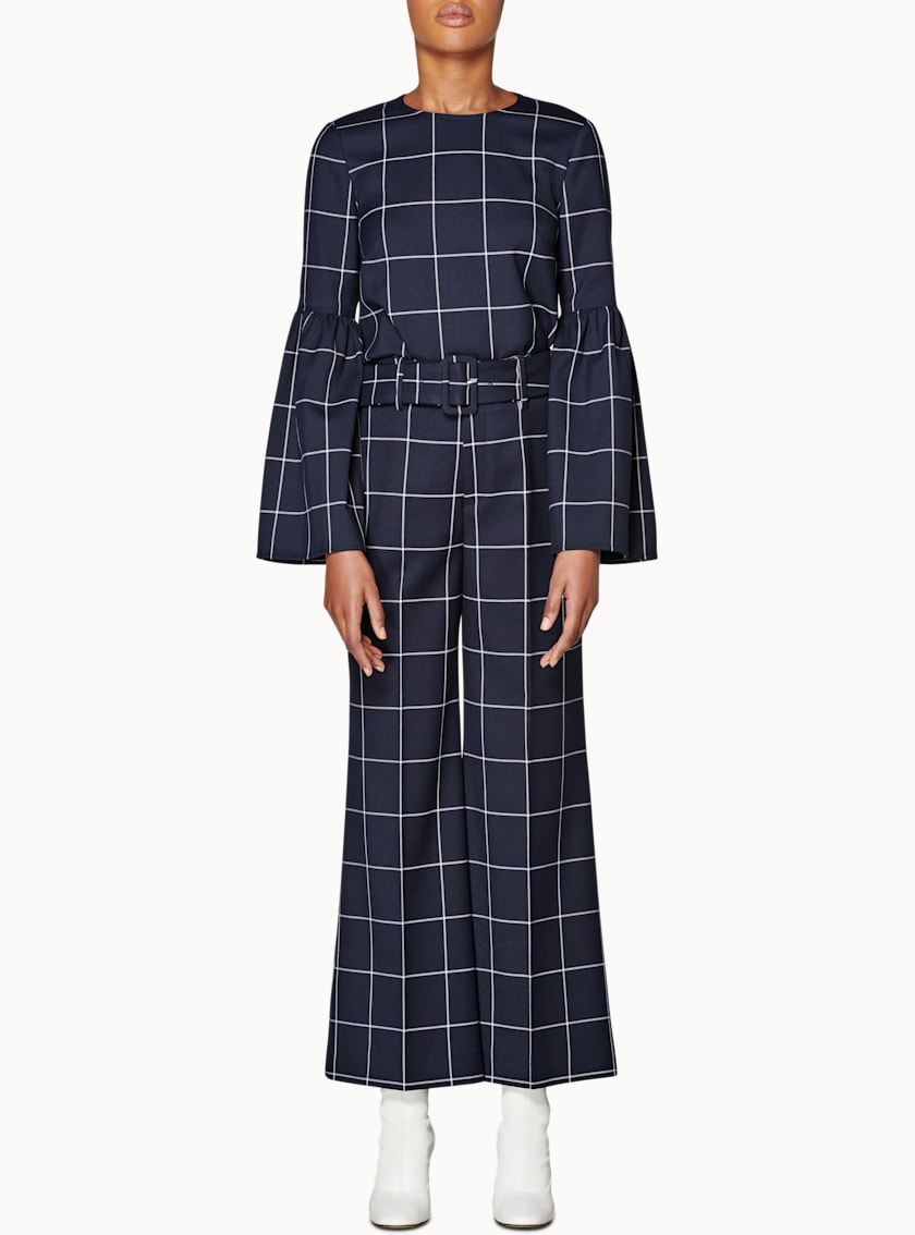 Laney Navy Windowpane Trousers
