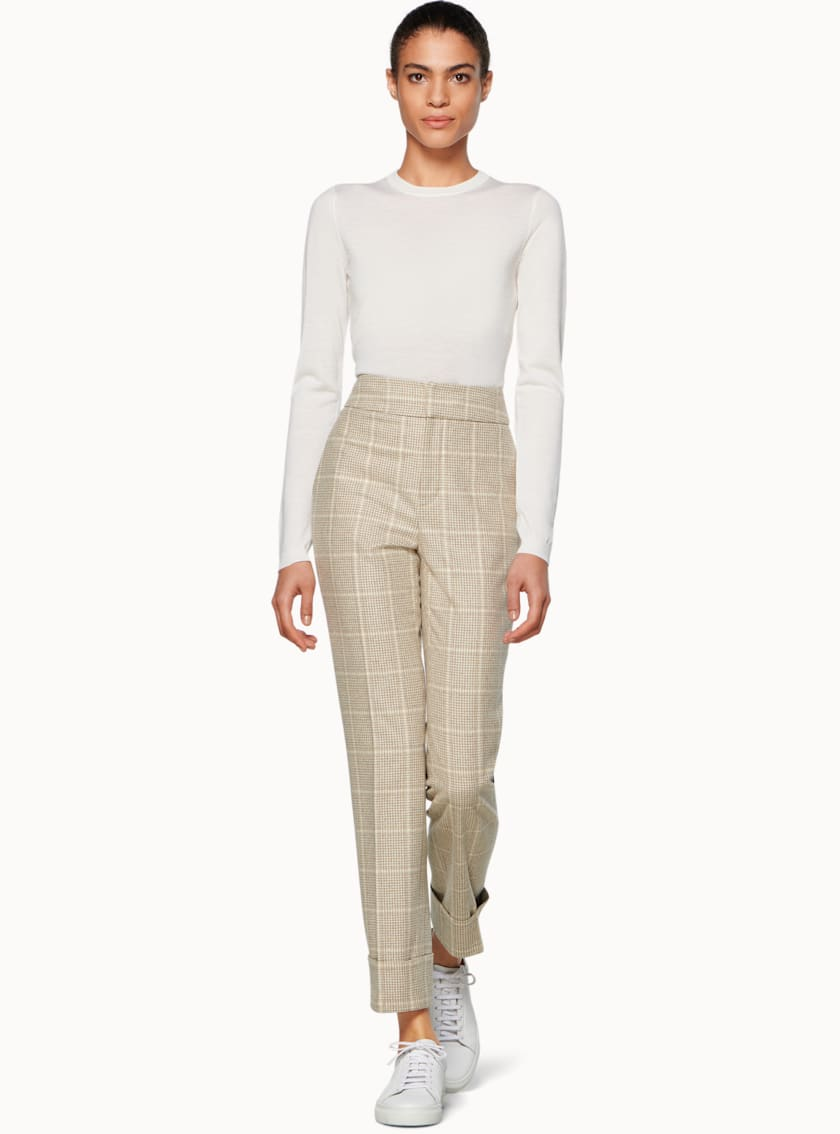 Lane Light Brown Checked Trousers