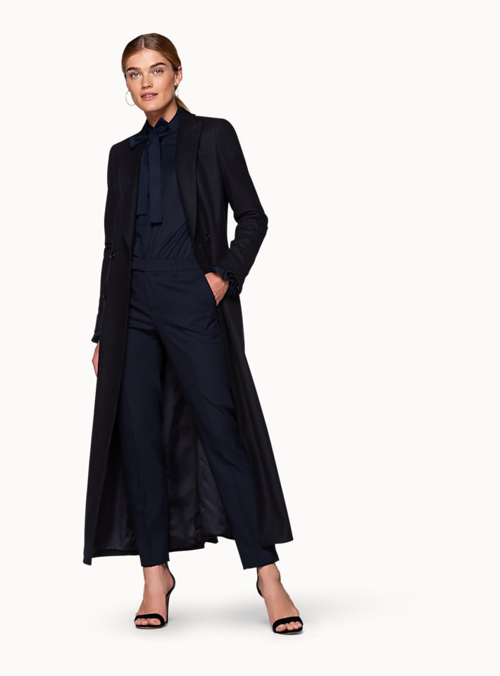Anna Navy  Double Breasted Coat