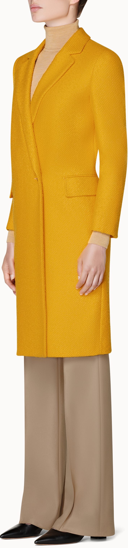 Alia Yellow  Double Breasted Coat