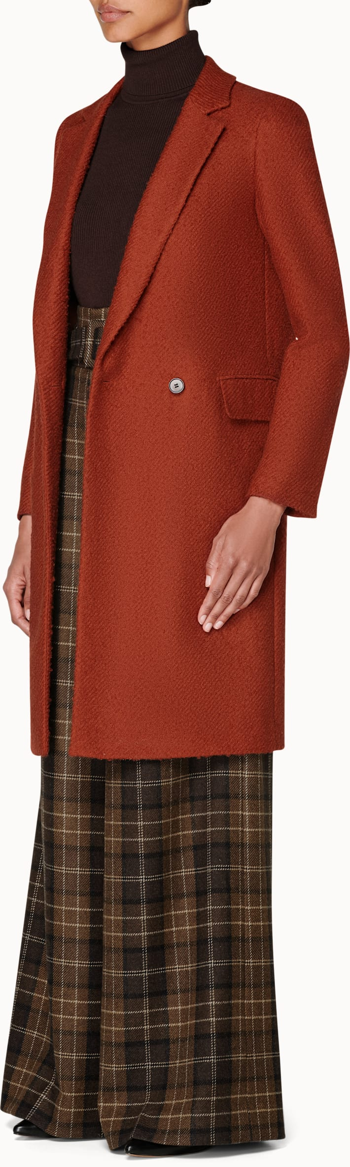 Alia Orange  Double Breasted Coat