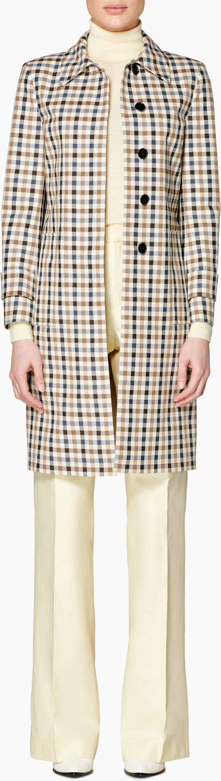 Cara Brown & Navy Checked Car Coat