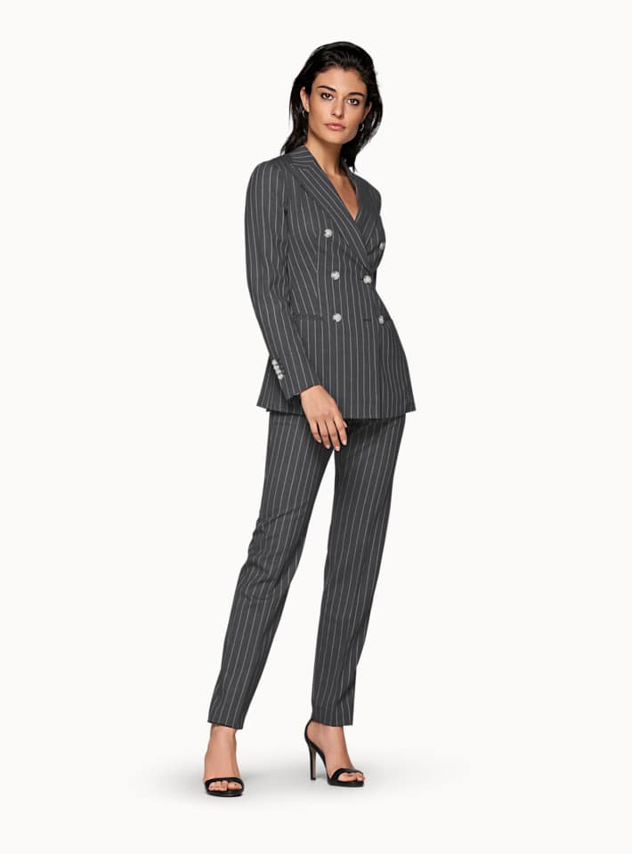 Cameron Grey Striped Suit