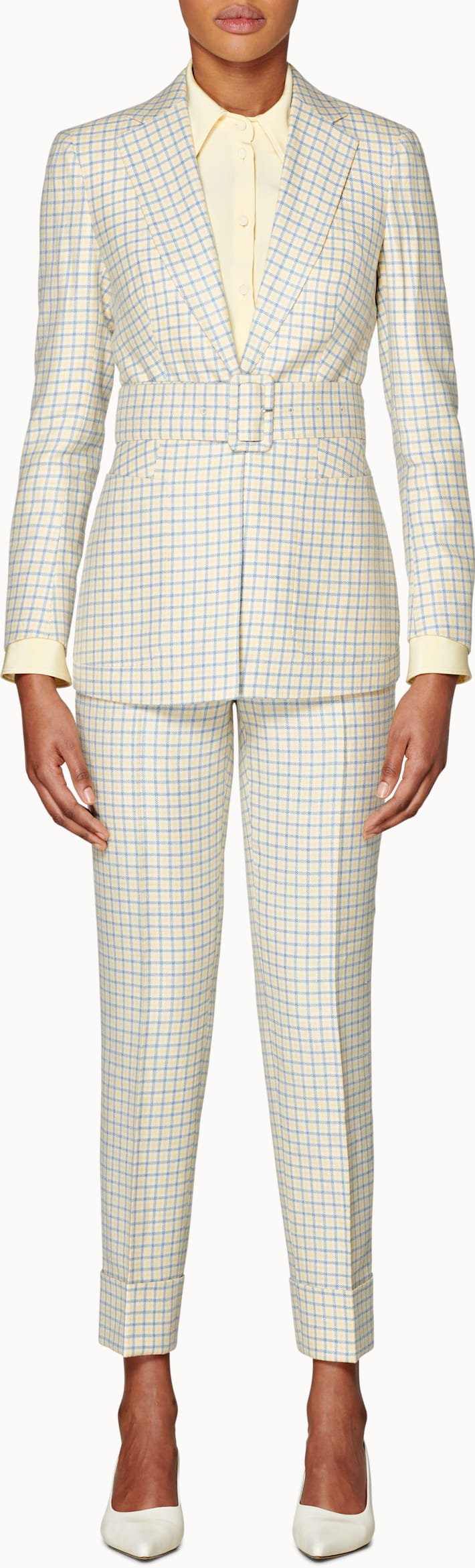 Cameron Yellow & Light Blue Checked Suit
