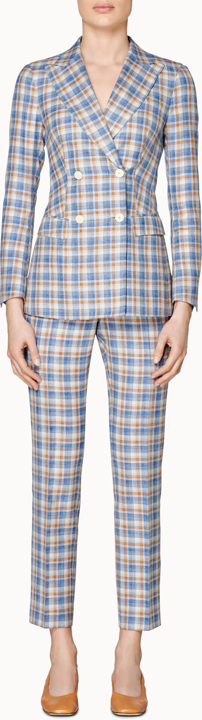 Cameron 4-Button Blue & Brown Checked Suit
