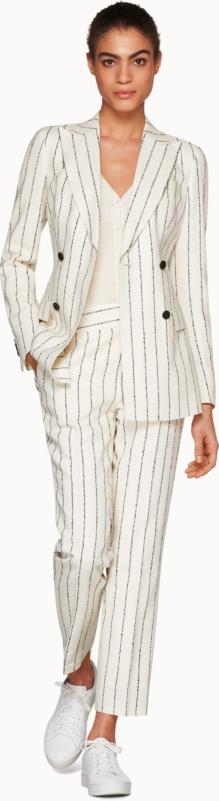 Cameron White Striped Suit