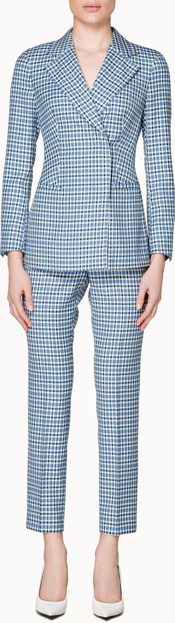 Cameron 4-Button Green & Blue Checked Suit