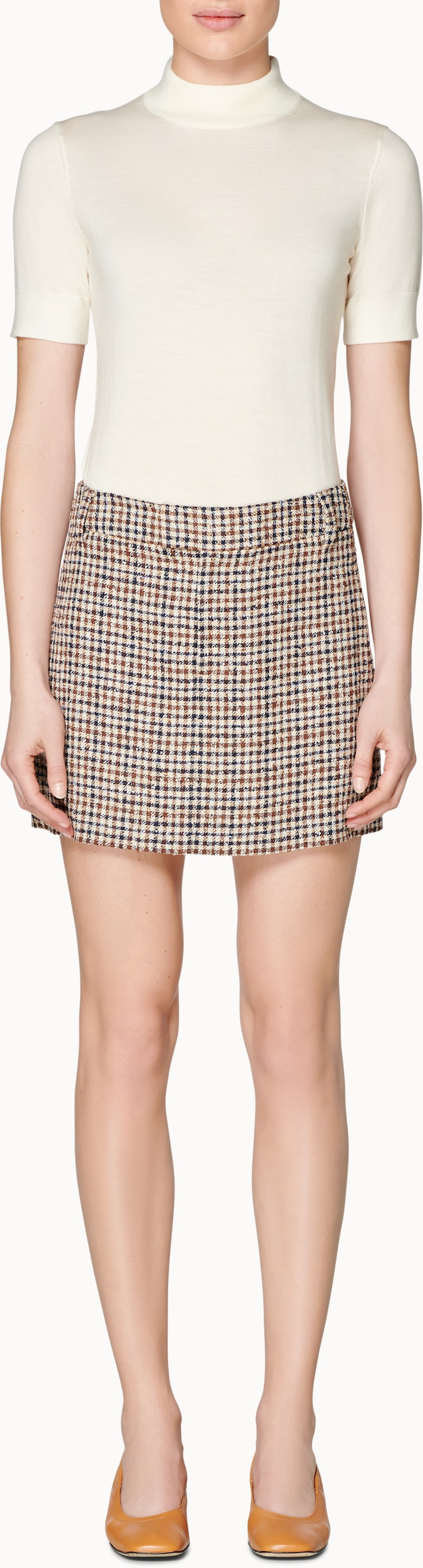 Charlotte Brown Checked Skirt