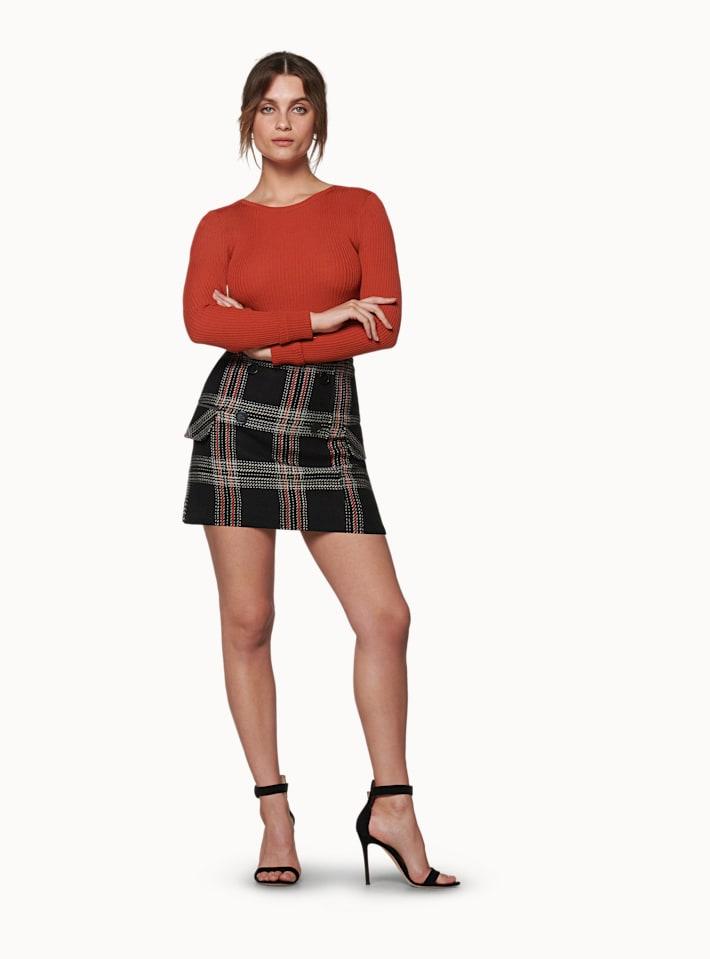 Amber Orange Checked Skirt