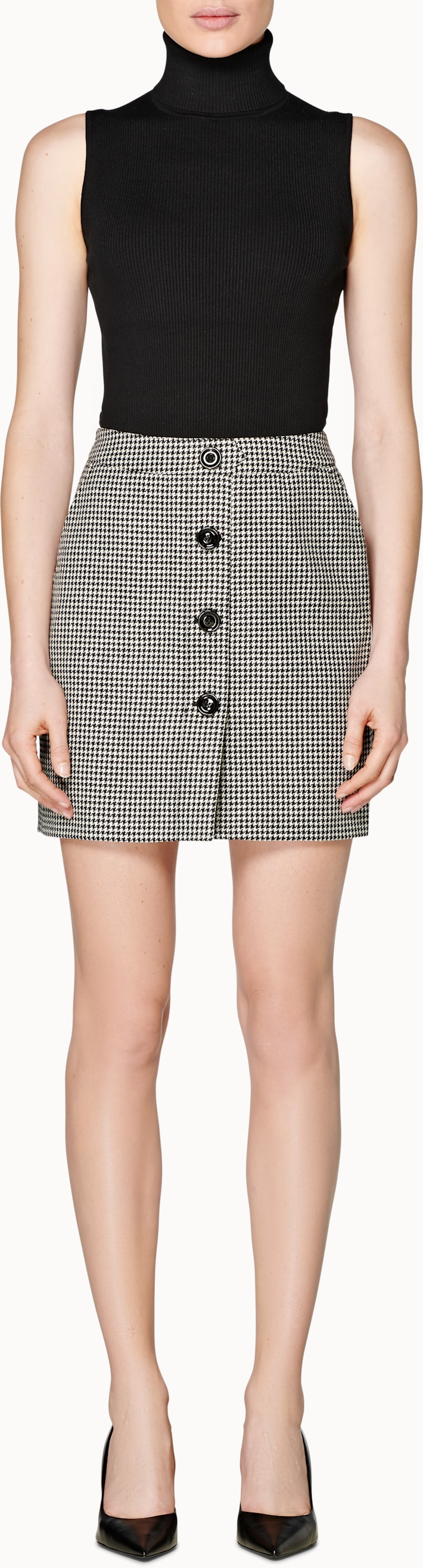 Banu Black Houndstooth Skirt