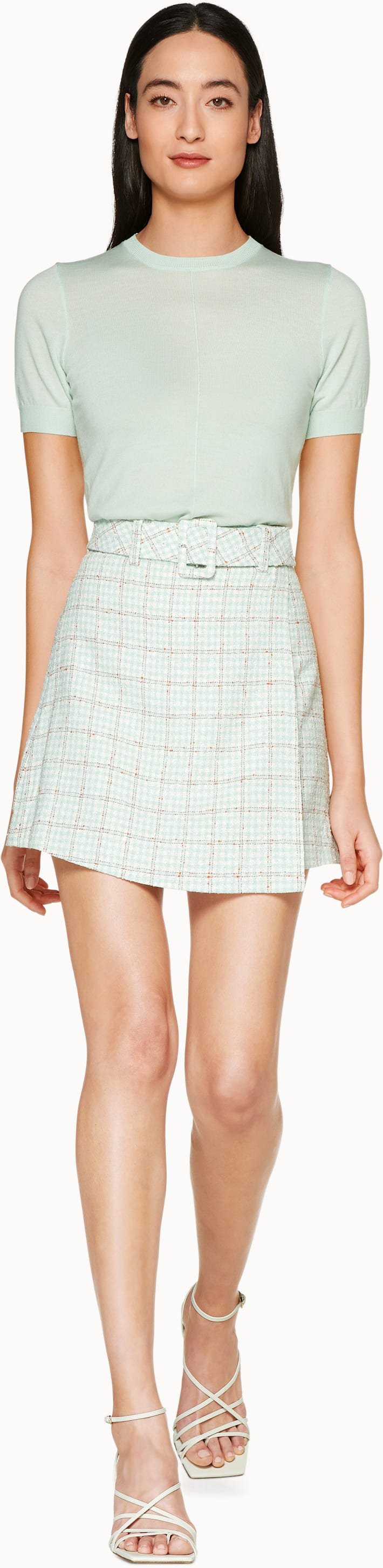 Calvin Mint Checked Skirt