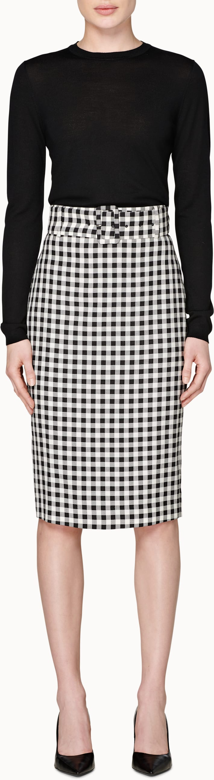 Darell Black & White Checked Skirt