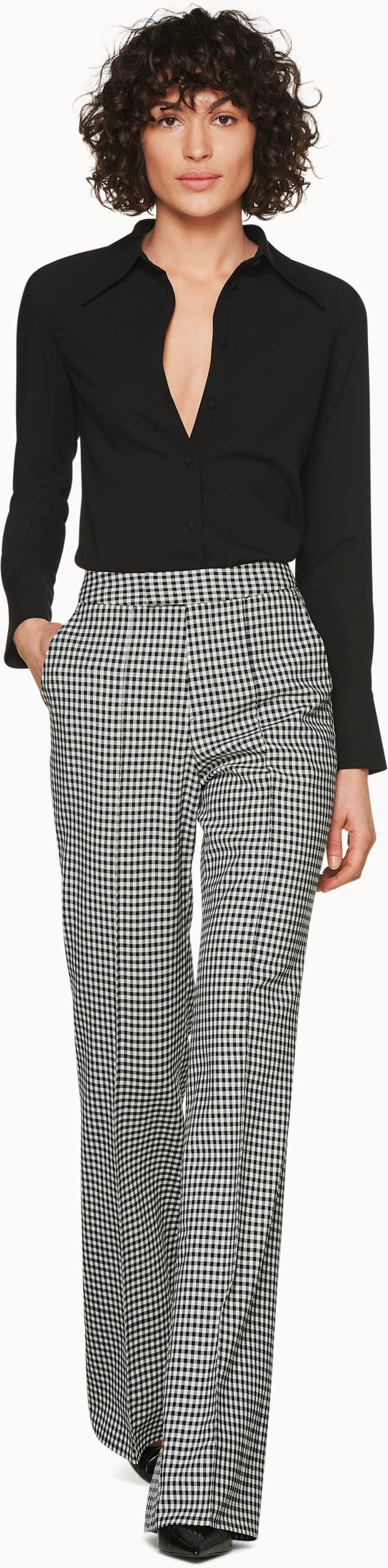 Ally Black & White Checked Trousers