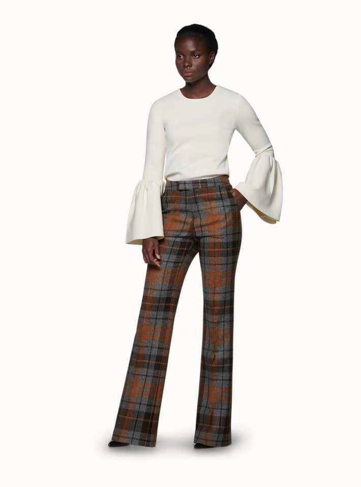 Ally Brown Checked Trousers