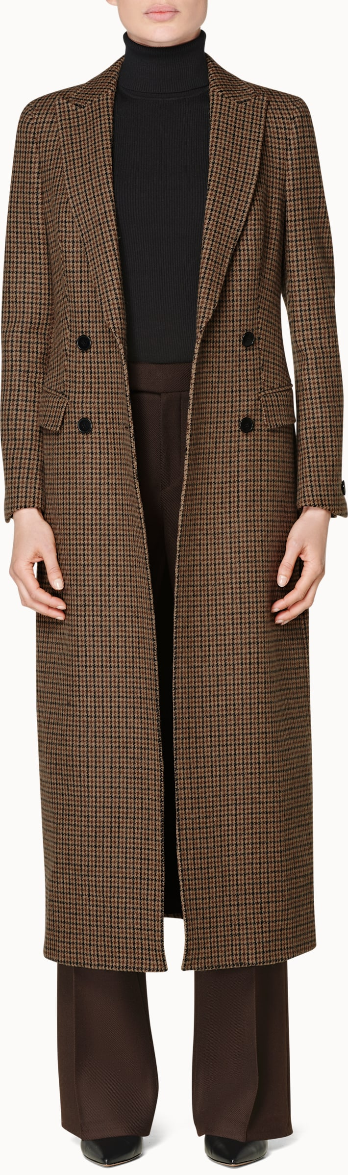 Anna Brown Houndstooth Double Breasted Coat