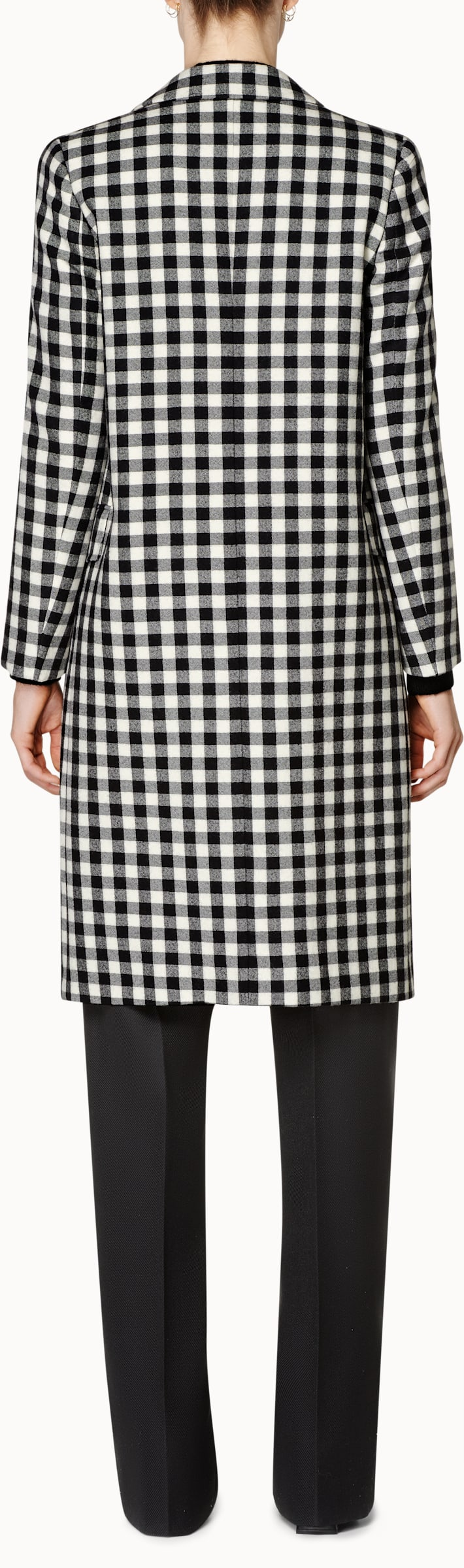 Alia Black & White Checked Coat