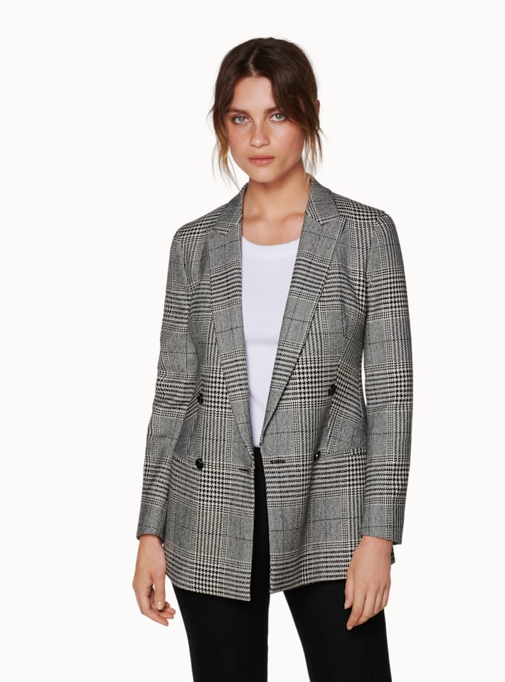 Joss Grey Checked Belted Jacket