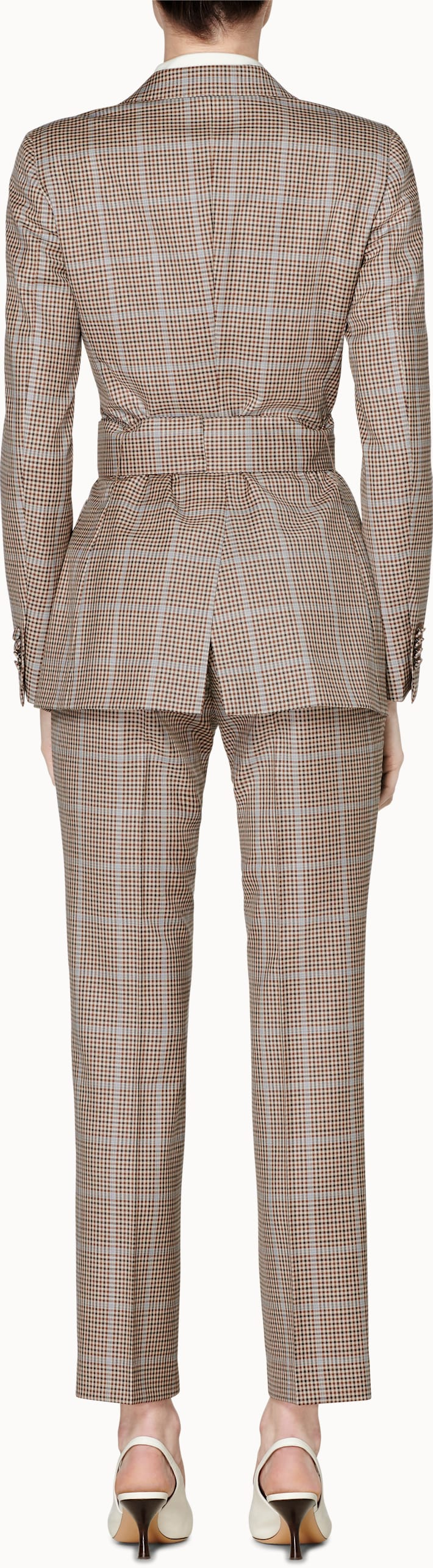 Cameron Brown Checked Belted Suit