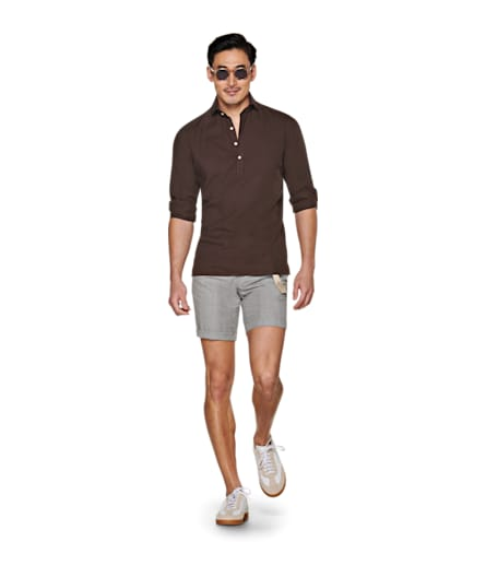 Light Grey Bennington Pleat Shorts