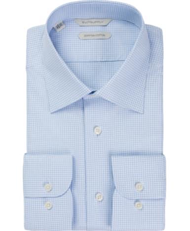 Light Blue Piede De Poule Shirt