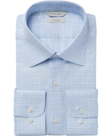 Light Blue Check Traveller Shirt