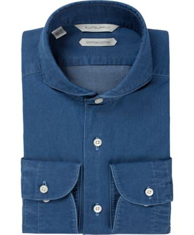 Blue Plain Denim Shirt