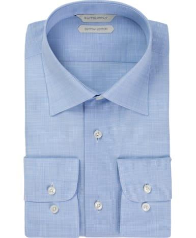 Light Blue Pied de Poule Shirt